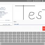 Kassendisplay mit digitaler Unterschrift und Eingabe des Kundennamens